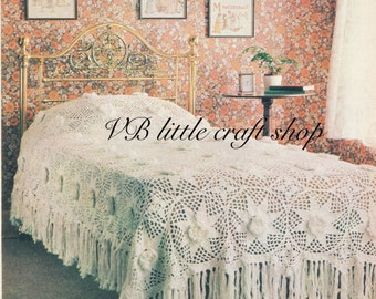 Bedspread bed cover crochet pattern. Instant PDF download!