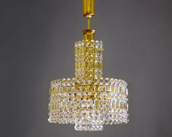 Kinkeldey chandelier etsy crystal glass chandelier with gold colored frame from 70s kinkeldey design luxury lighting mid aloadofball Choice Image