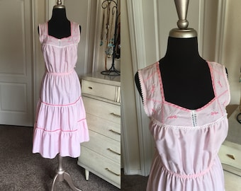 Vintage 1970's 80's Pink Cotton Sundress with Tiered Skirt M/L