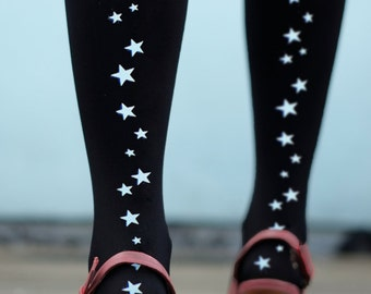 Star Seam Tights - Gold or Silver or Reflective Printed Stars