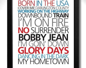 BRUCE SPRINGSTEEN - Born In the USA Album Limited Edition Unframed A4 Art Print with Song Titles