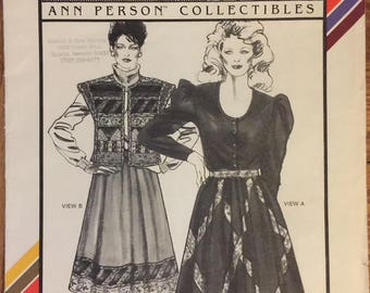 "Rare VTG 4075 Stretch & Sew (1983). Ann Person Collectibles. Gathered Patchwork Skirts. Hip Sizes 30"" to 46"". Complete, unused, FF. EX cond."