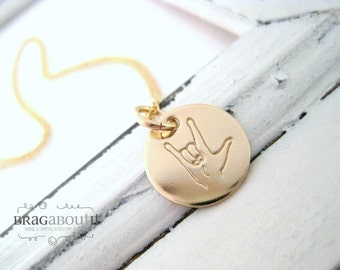 ASL . I LOVE YOU . Sign Language Necklace . Hand Stamped . 14K Gold Filled Personalized Jewelry