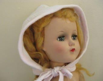 Vintage White Cotton Knit Doll Bonnet With Pink Trim ~~ Little Baby Doll Cap