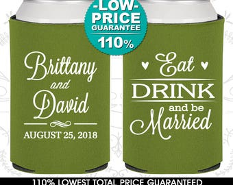 Wedding Can Coolers, Eat Drink and Be Married - Personalized Can Coolers, Custom Beer Can Coolers, Wedding Favors (C30)
