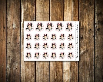 Trip to Disney - Cute Brunette Girl - Functional Character Stickers