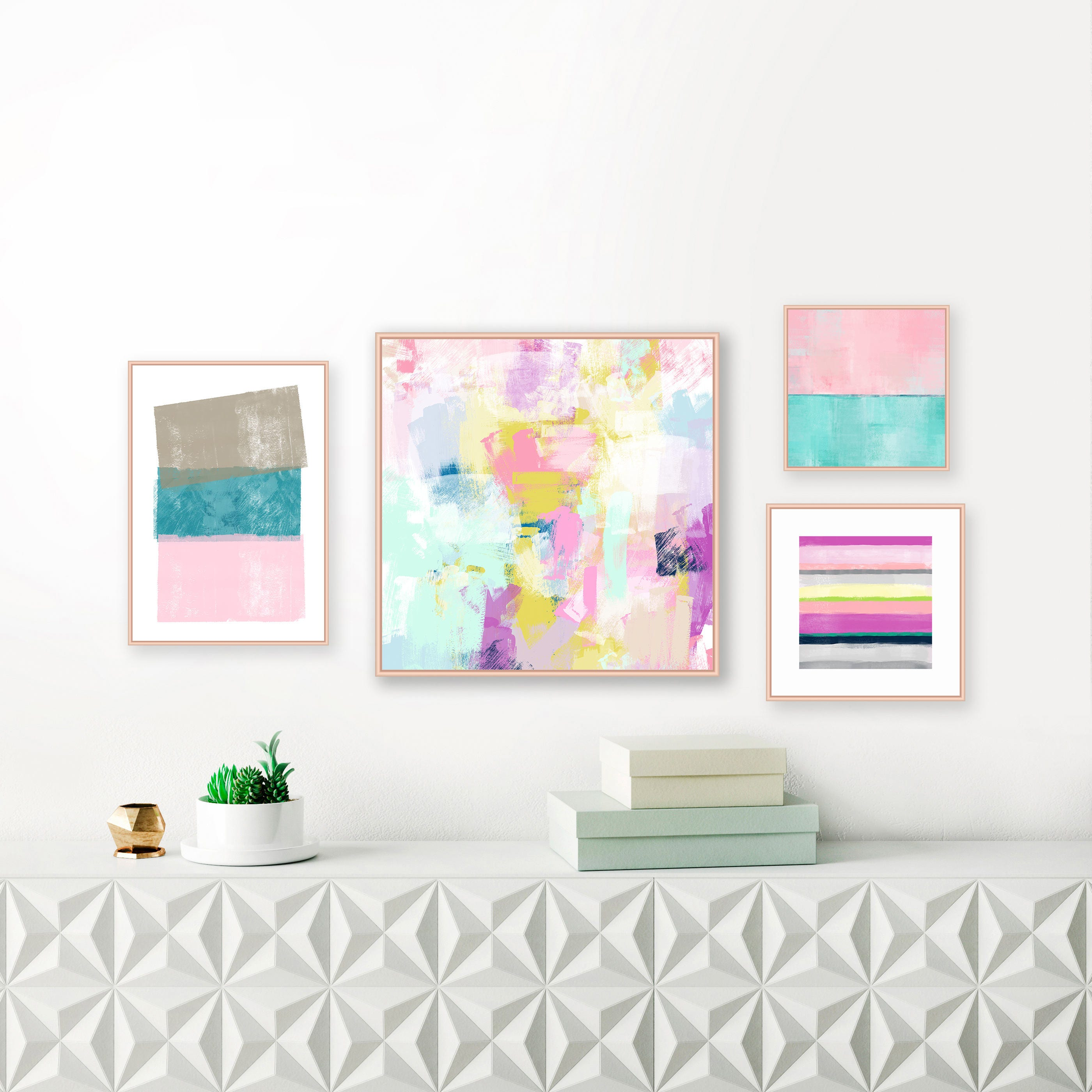 A set of 4 gallery wall art prints pastel and jewel tone paintings nursery art contemporary decor modern wall art