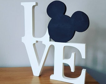 Disney inspired Mickey LOVE freestanding wooden sign / disney wedding centerpiece / personalised anniversary, engagement present