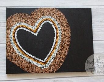 Summer Single Hearts Henna Canvas