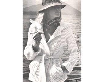 Knit Cardigan Pattern Womens Wrap Sweater Knitting Pattern Tie Belt Pockets Cross Rib Stitch PDF Instant Download Printable Pattern- K82