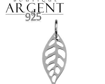 Sterling Silver 925 19.2 X 7.1 mm leaf charm, sterling silver