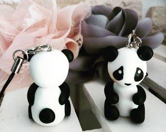 Panda on strap, key chain