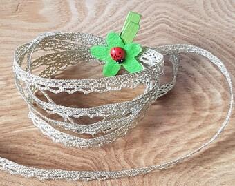 Metallic lace, gold picot braid.