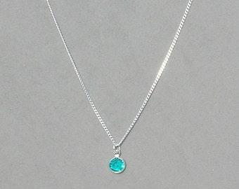 December Birthstone- Blue Zircon Drop Necklace