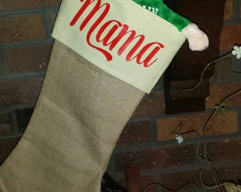 Burlap Stockings, Burlap Christmas Stockings, Chevron  Stocking, Monogrammed Christmas Stockings, Family Christmas Stockings,