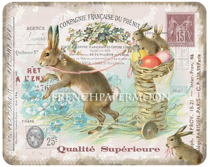 Shabby French Easter, Spring Bunnies, French Graphics, Collage Printable, Easter Decor, Easter Printable. Graphic Transfer, Pillow
