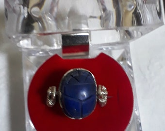 Genuine Sterling Silver Ring Decorated with Genuine Lapis Lazuli Scarab