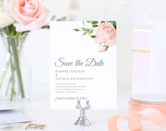 Save The Dates Template, Printable Save the Date, Save Our Date, Vintage Botanical | SUITE028