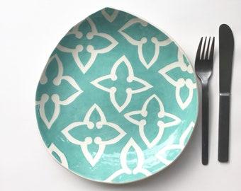ceramic plate handbuilt teardrop  shaped aqua star pattern
