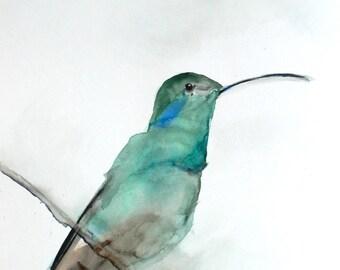 Bird Print - Living Room Wall Decor - Watercolor Hummingbird Art - August - Second Edition - 11x14 Giclee Print