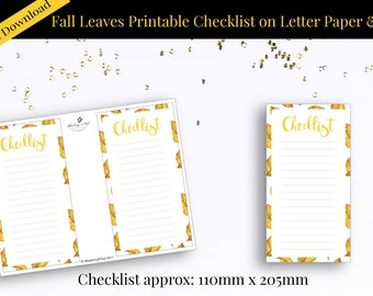 Fall Checklist, Autumn Leaves Checklist Printable, Instant Download, Printable Note Pad,Fall leaves Printable, Thanksgiving printable,Notes