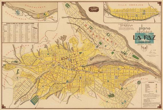 La Paz map Old map of La Paz Plano de la Ciudad de La Paz