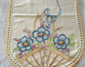Cross-stitched table runner