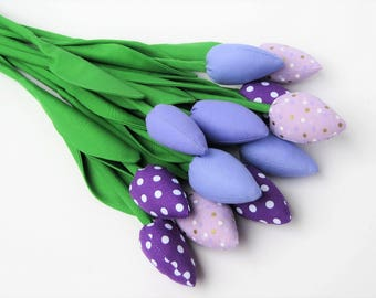 Flowers for mom Fabric flowers alternative bouquet of tulip flowers Mother's day gift dozen tulips lilac and light violet polka dots