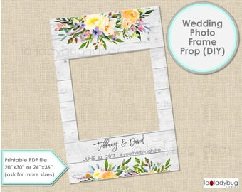Wedding photo frame prop, watercolor floral. Wedding photo prop. DIY PDF Printable file. Custom Floral frame prop for selfie station.