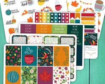 Hello Fall Stickers, Weekly Planner Kit, 6-8 Pages, for use with Erin Condren Lifeplanners, Happy Planner, ECLP, MAMBI, Planner Stickers