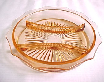 1930s 3 Part Relish Pink Depression Glass, Vintage Sunburst Base Flange Edge With Scallops, Old Collectible Serving Dish
