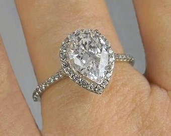Pear Cut Engagement Ring Accented Cathedral Halo Design Wedding Ring in Solid 14K White Gold