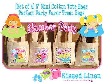 Slumber Sleepover Pajama Party Favors Birthday Treat Favor Gift Bags Cotton Mini Totes Children Kids Guests - Set of 4