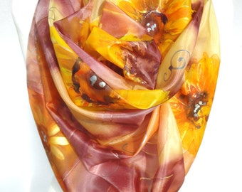 Square Silk Scarf. Hand Painted Sunflowers Scarf. Silk Head Scarf. Gift for her. SIlk Shawl Silk Painting. Unique Handmade 35x35in Ready2Shi