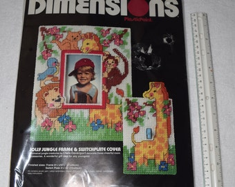 Vintage DIY Frame and Switch Plate Cover Jolly Jungle DIMENSIONS Plastic Point Needlepoint