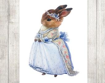 "Print. Watercolor Lady Bunny ""Elf Princess"""