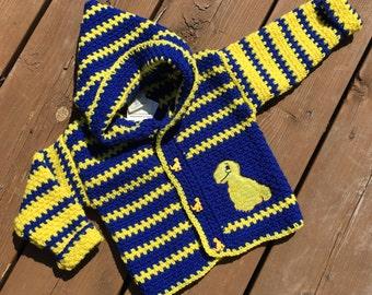 Children's Sweater, Size 2T, Crochet Children's Hoodie, Dinosaur Sweater, Girl Sweater, Boy Sweater, Handmade & Designed by Bahde