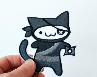Iron on patch embroidered patch cute ninja kitty iron-on patch cute cat patch ninja patch patch for jeans patch for backpack