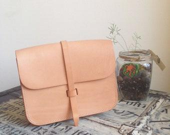 Flap Satchel Bag - Natural color