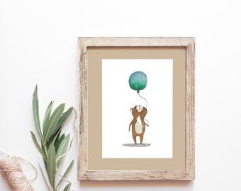 Balloon Loving Bear - Unframed FINE ART PRINT, Watercolour, Watercolor, Nature, Bear, Woodland, Nursery, Wall Decor, Home Decor, Moose