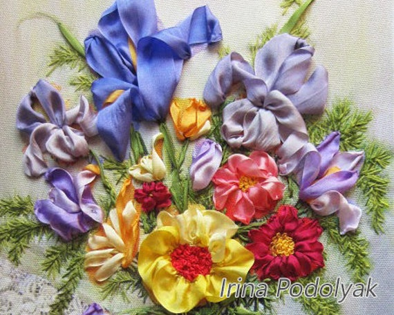 Silk Ribbon Embroidery Garden Flowers Full Kit
