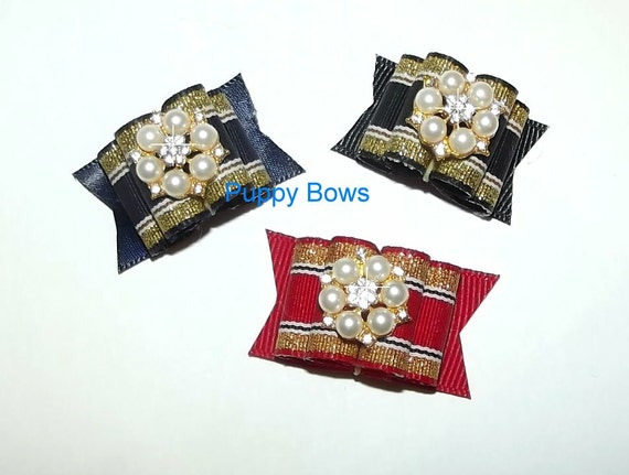 Puppy Bows ~ SUPER FANCY pearl rhinestone show bows dog grooming bow pet hair barrette (fb20)