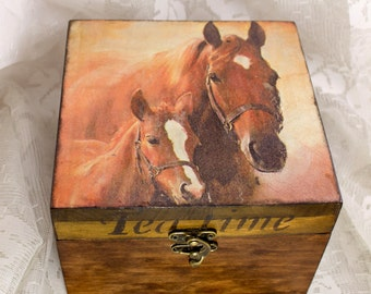 wooden gifts for men Tea box Wooden tea box Western tea box Retro Tea Storage Box Vintage Tea Bag Box Tea bag storage Tea boxes horse