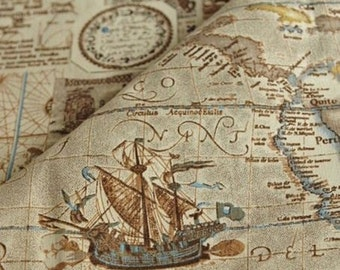 Nautical map fabric etsy diy for handbag curtains 3a6 8988 vintage nautical map cotton and linen fabric 55 gumiabroncs Gallery