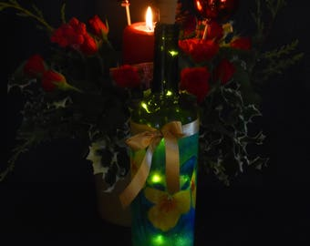 Art on a bottle, decoupage, original art pansies on a bottle with LED lights