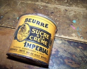 Vintage Advertising Tin IMPERIAL Sugar Creme Butter Charbonneau LTD Montreal
