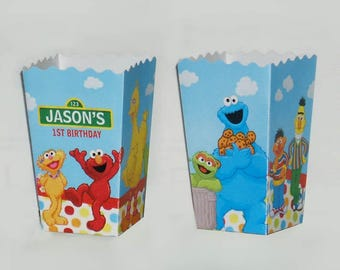 Sesame Street Elmo Personalized Birthday Popcorn favor Boxes (Set of 10)