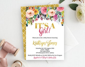 It's A Girl Baby Shower Invite, Floral Baby Shower Invitation, Baby Shower Invitation, Girl Baby Shower Invitation, Printable Invitation