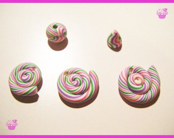 Set 5 bead lollipops and other sweet treats candy charm polymer clay