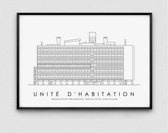 Architecture Print, Unite d'habitation, France, Poster, Instant Digital Download, Gift, Minimal, Printable Art, Modern Design